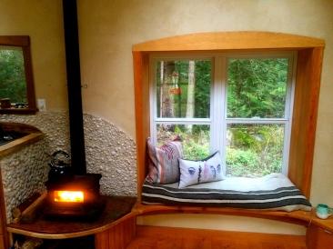 Wood stove and window seat. Booya!