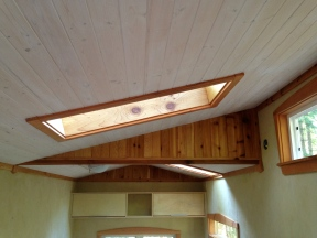White wash pine ceiling.